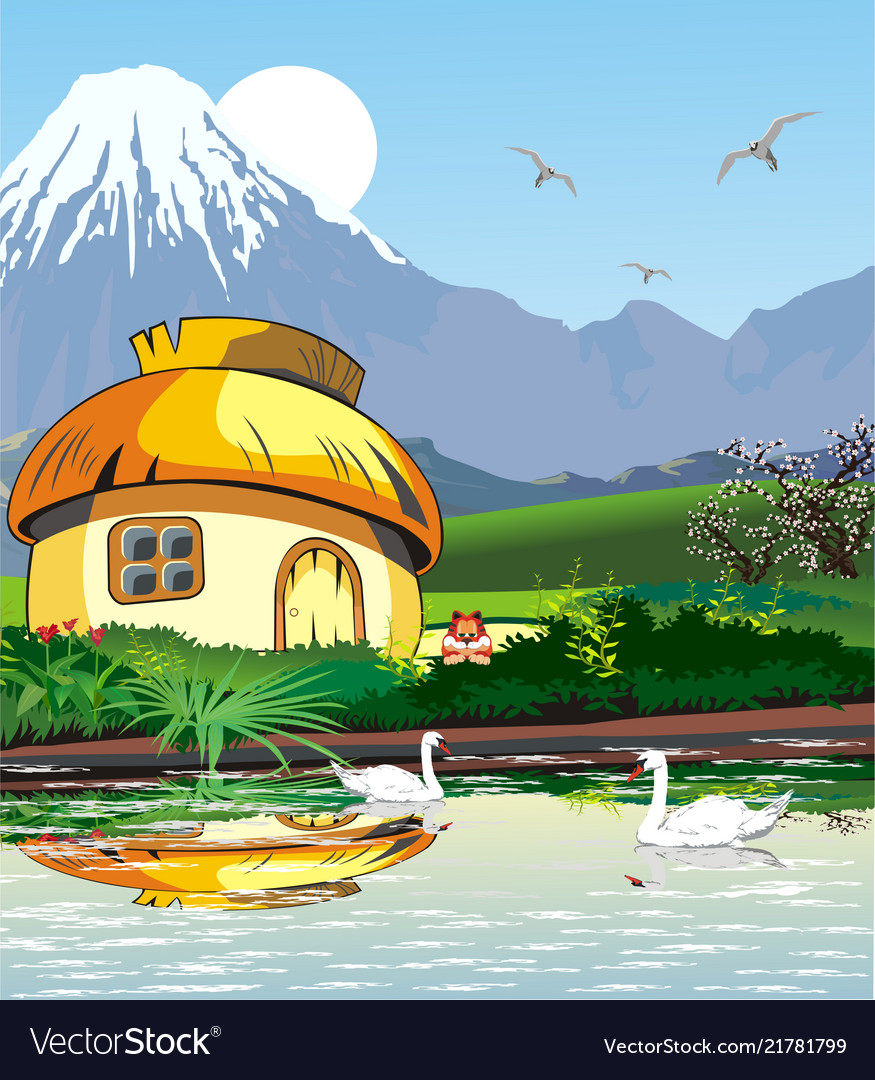 Country landscape-hut on the lake with swans