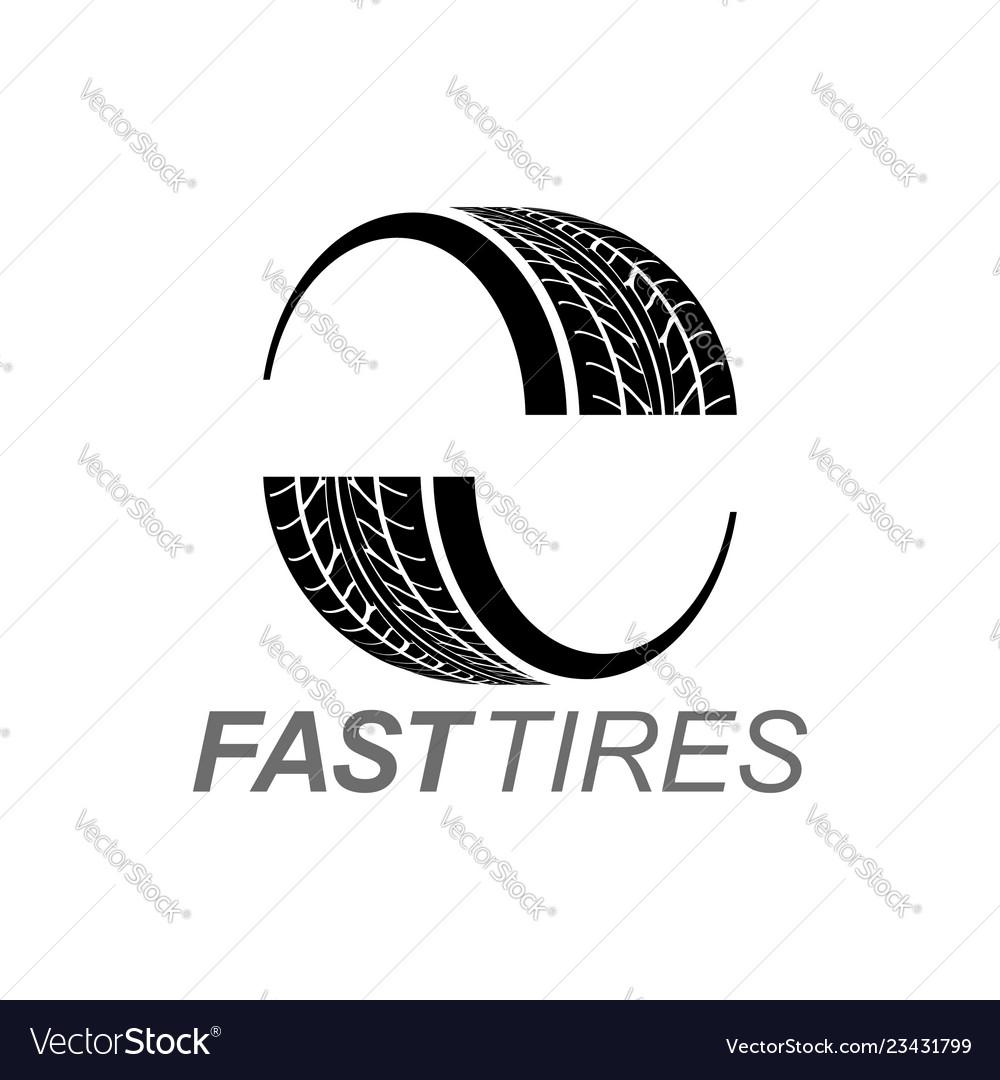 Fast tires in black color logo concept design
