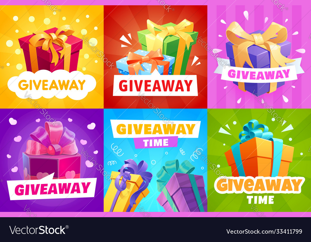 Giveaway gift boxes and presents posters