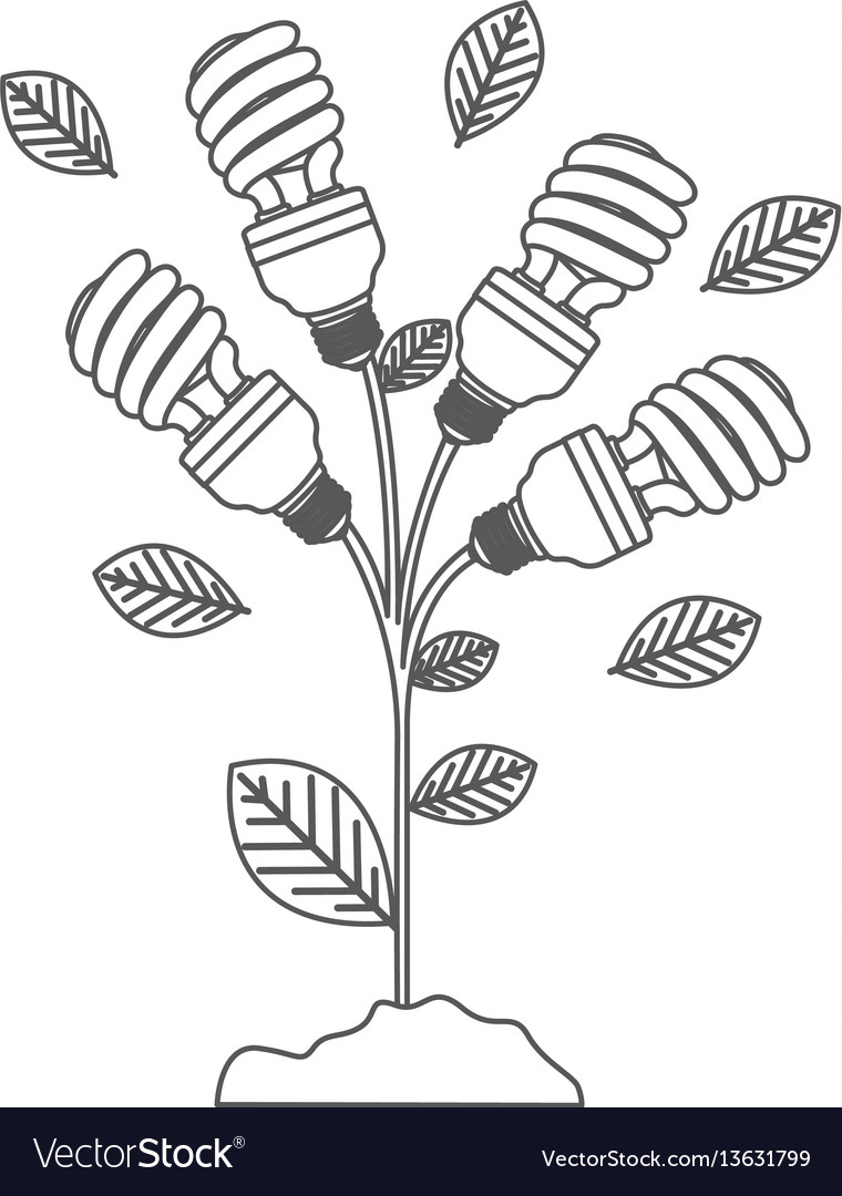 Grayscale contour with plant stem with leaves and