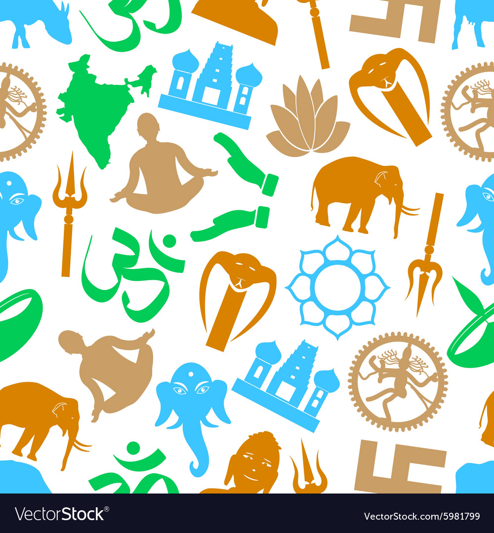 Hinduism Religions Symbols Seamless Color Pattern Vector Image