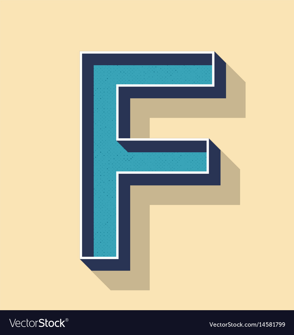 Letter f retro text style fonts concept
