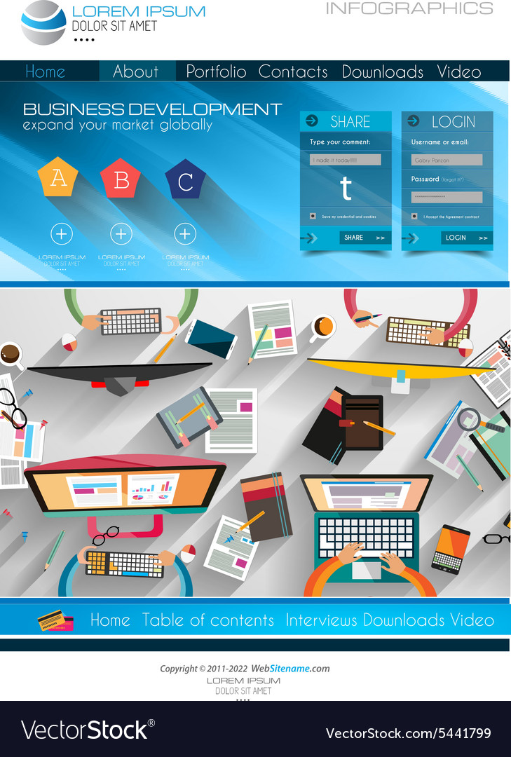 Modern Website Template With Flat Style Royalty Free Vector