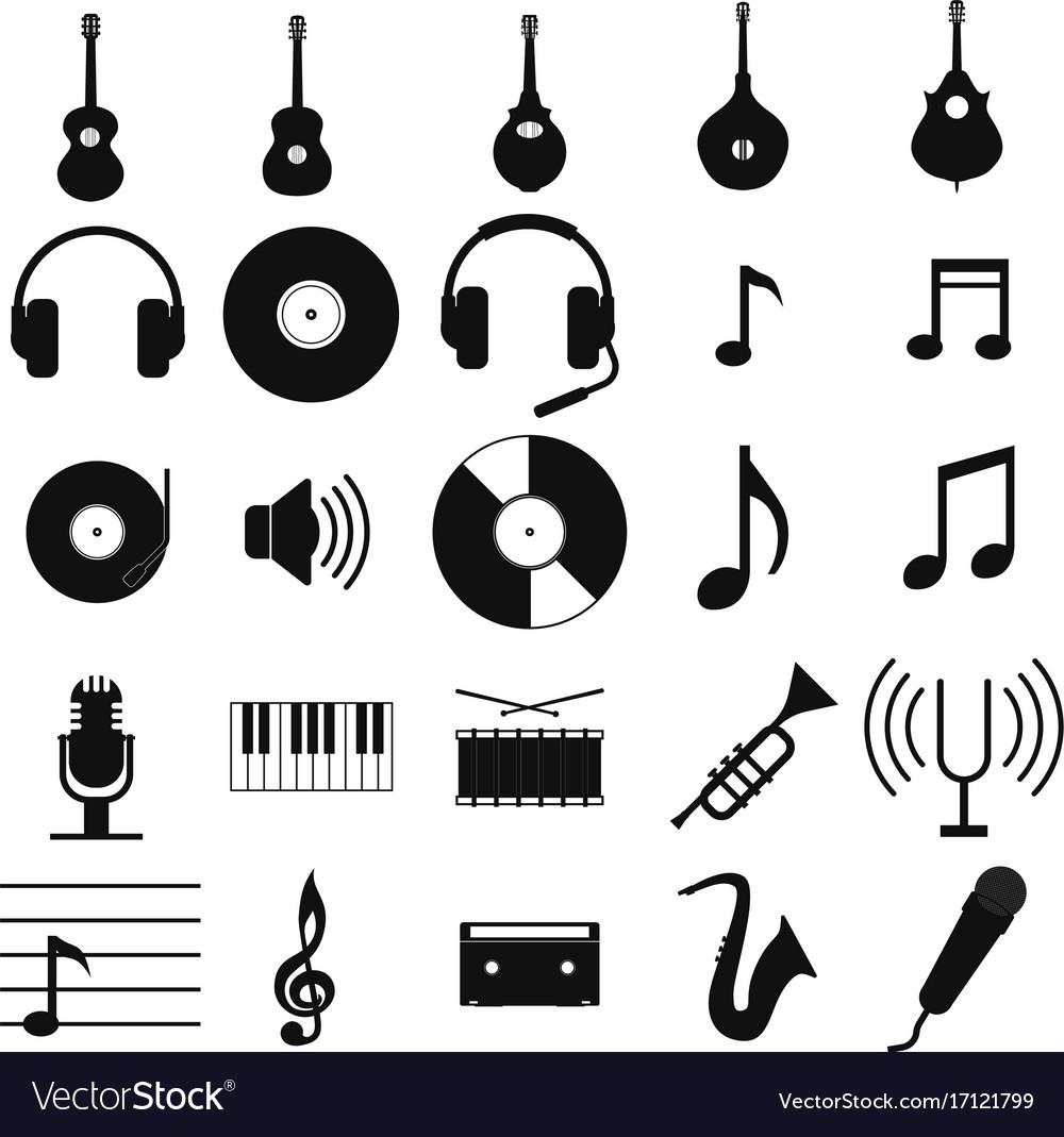 Music set black icon on white
