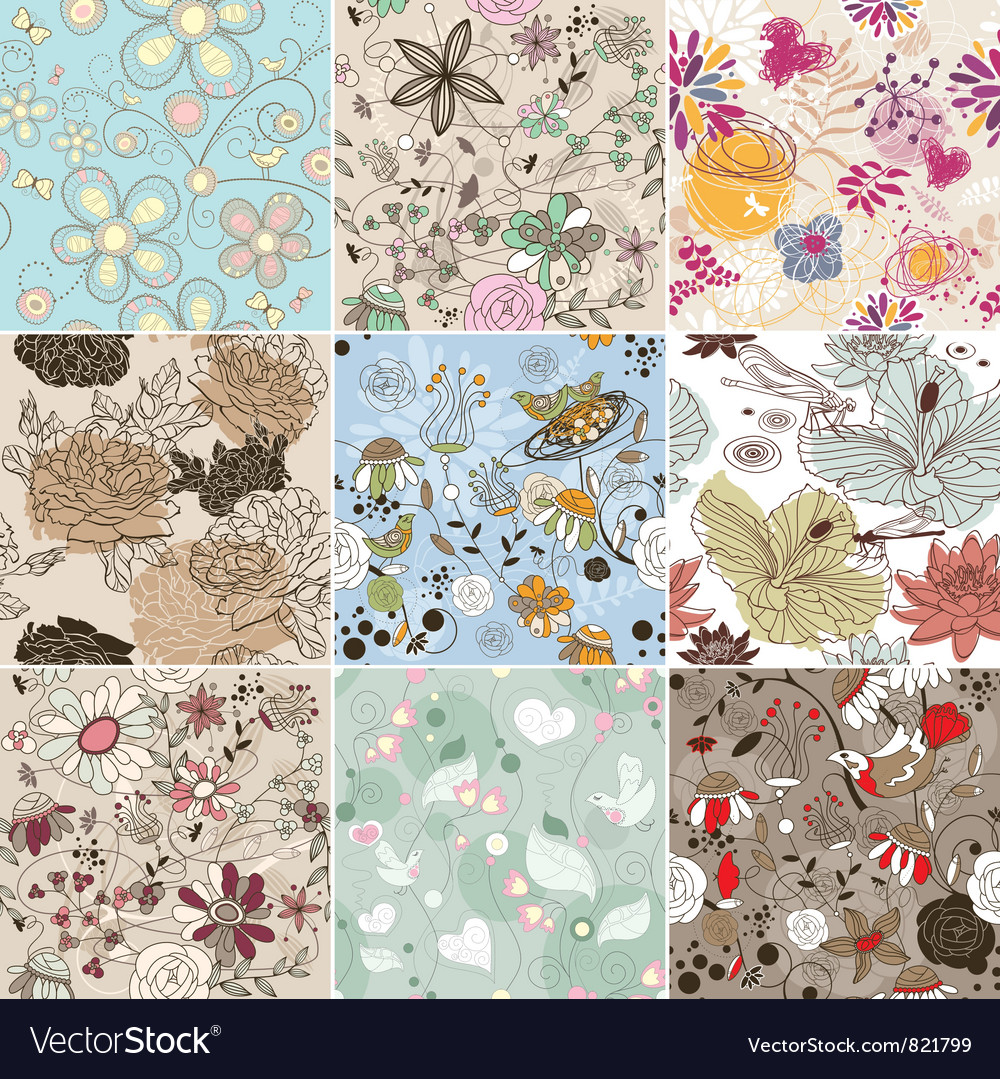 Set of seamless floral background vector image