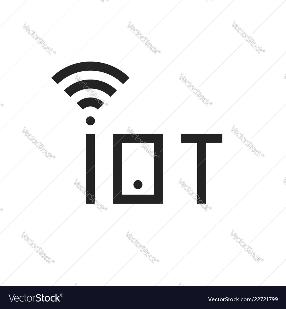 Simple black iot thin line logo