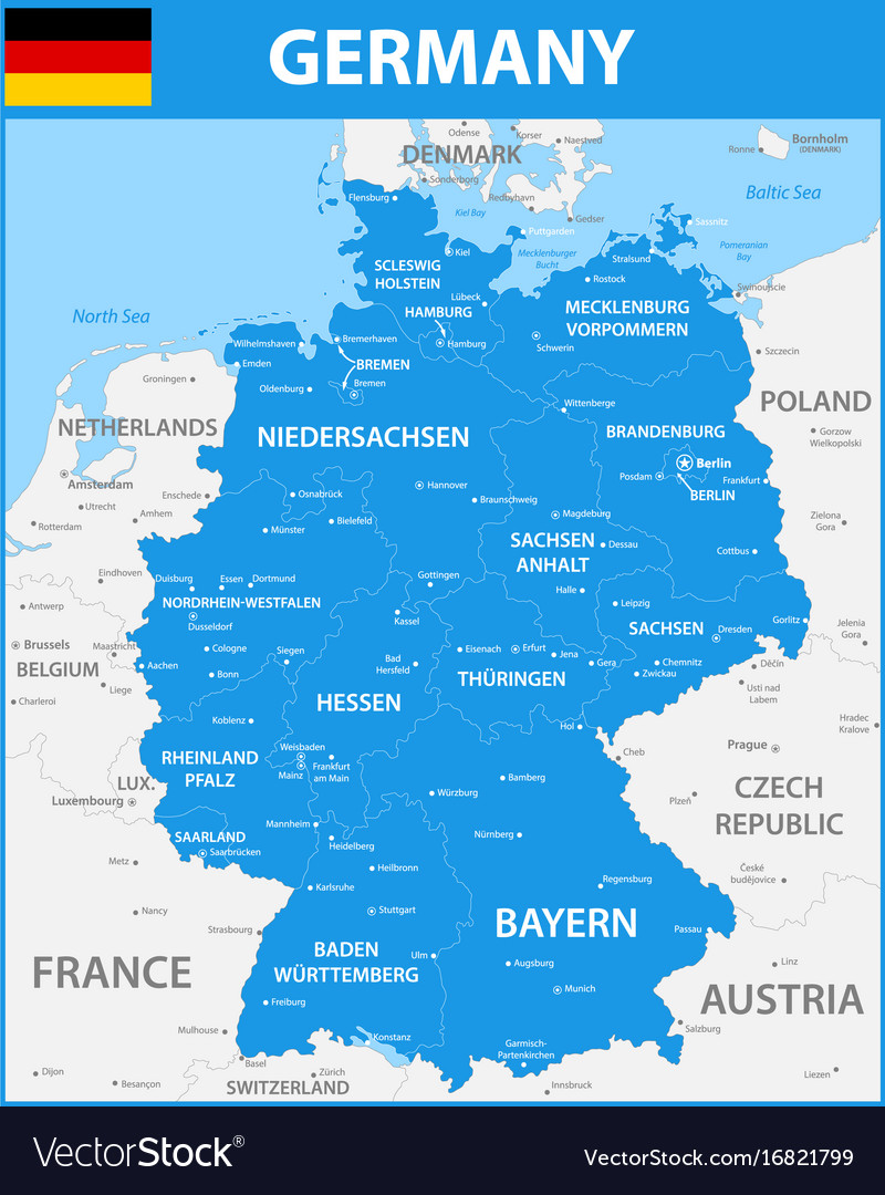 Regions Of Germany Map.The Detailed Map Of The Germany With Regions Or