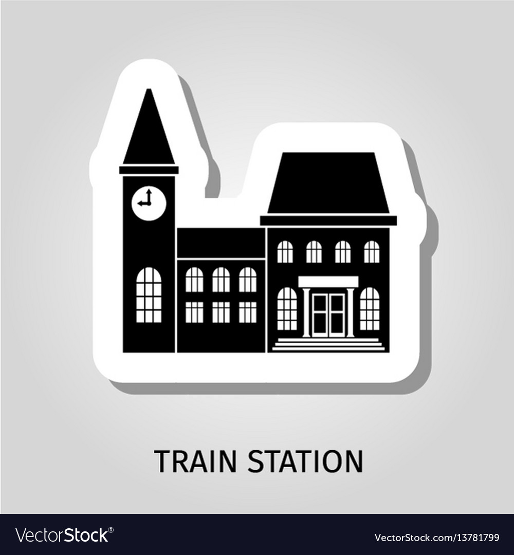 Train station black building sticker