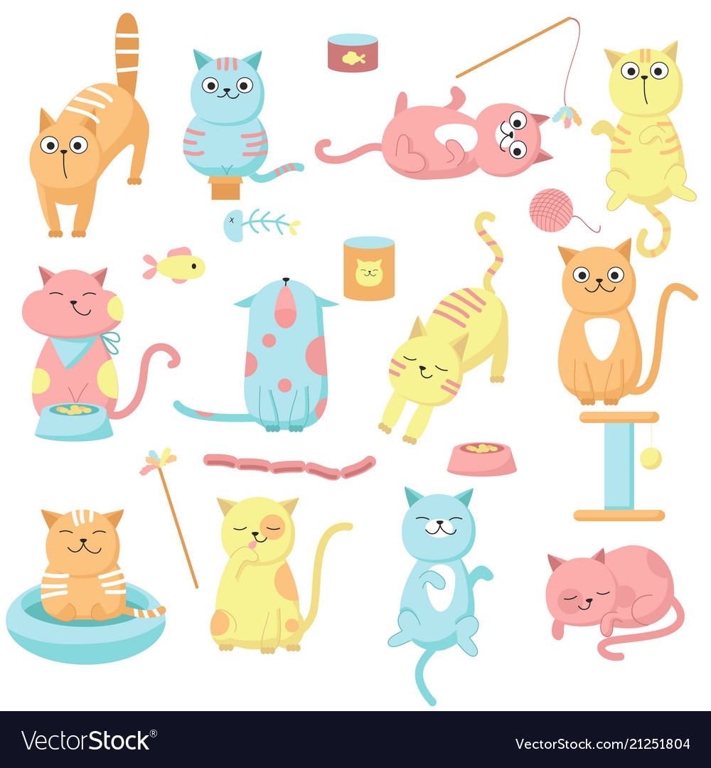Cute cat icon set hand drawn