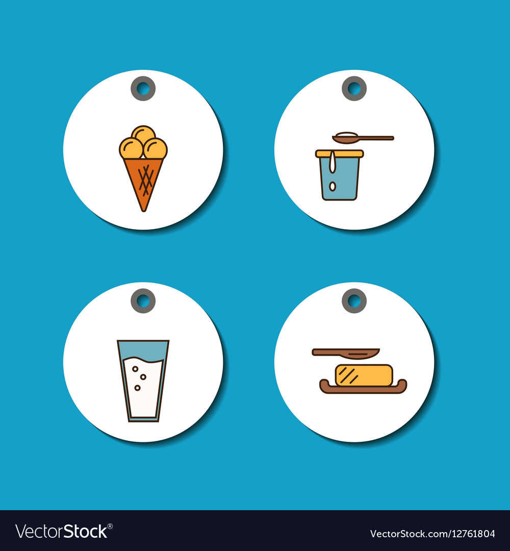 Dairy products sale badges set vector image