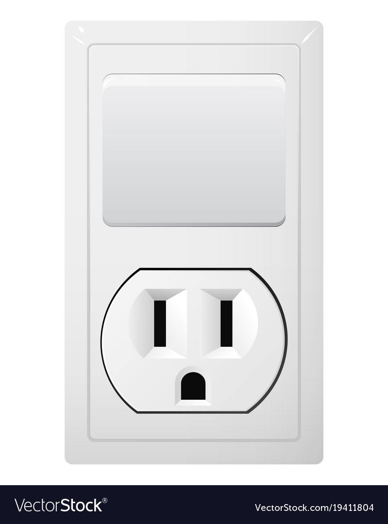 Electrical socket type b with switch receptacle Vector Image