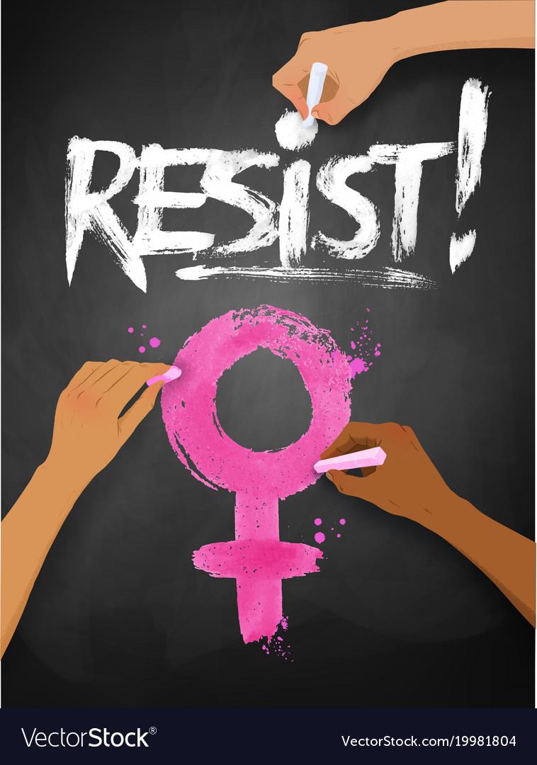 Female Hands Drawing Resist Word Lettering Vector Image