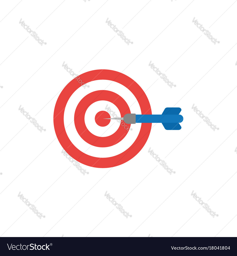 Flat Design Style Concept Of Bullseye With Dart Vector Image