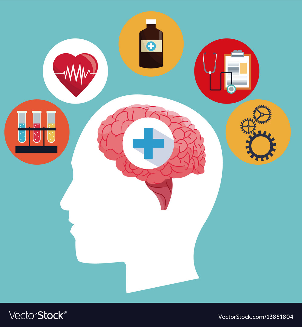 Human head brain medicine symbol concept