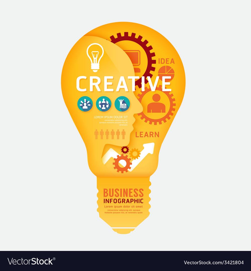 Infographics light bulb design diagram line style