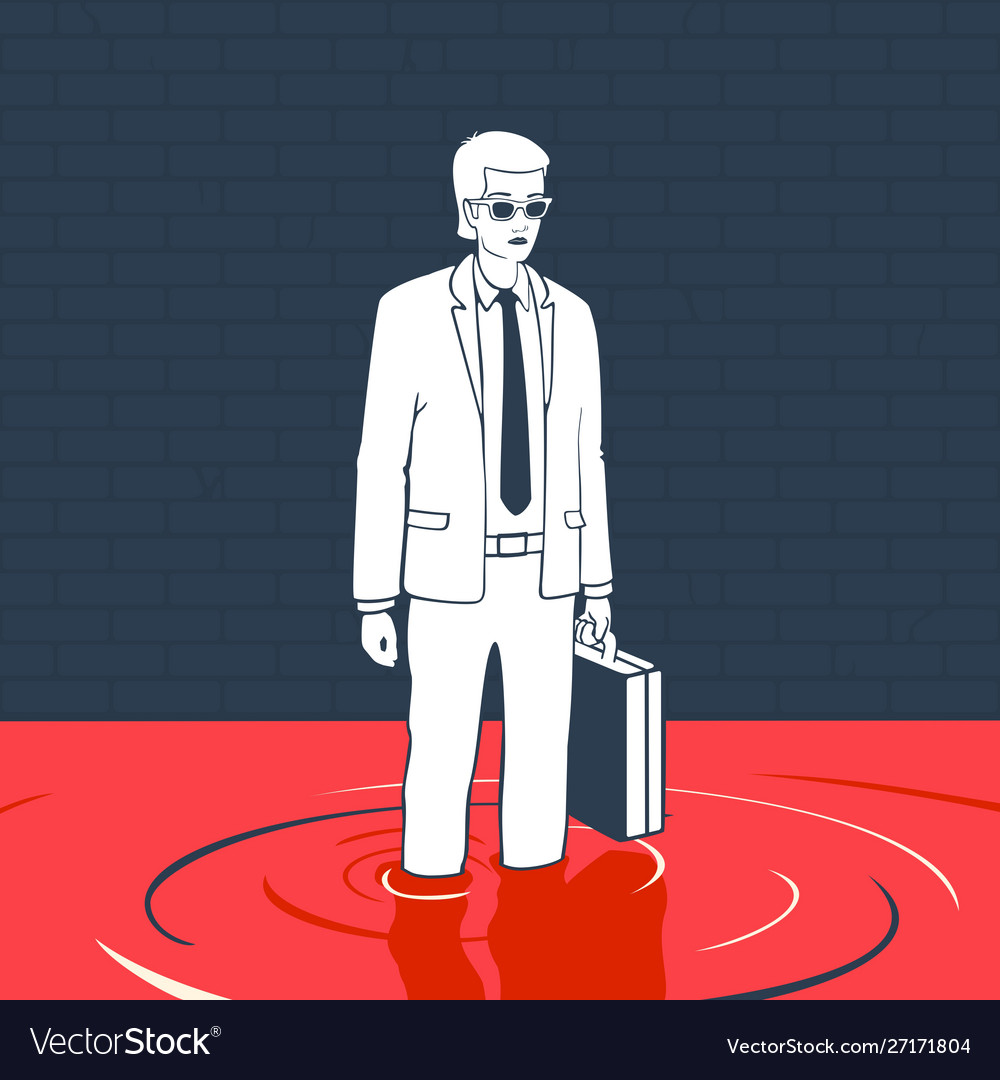 Man with suitcase in a puddle blood