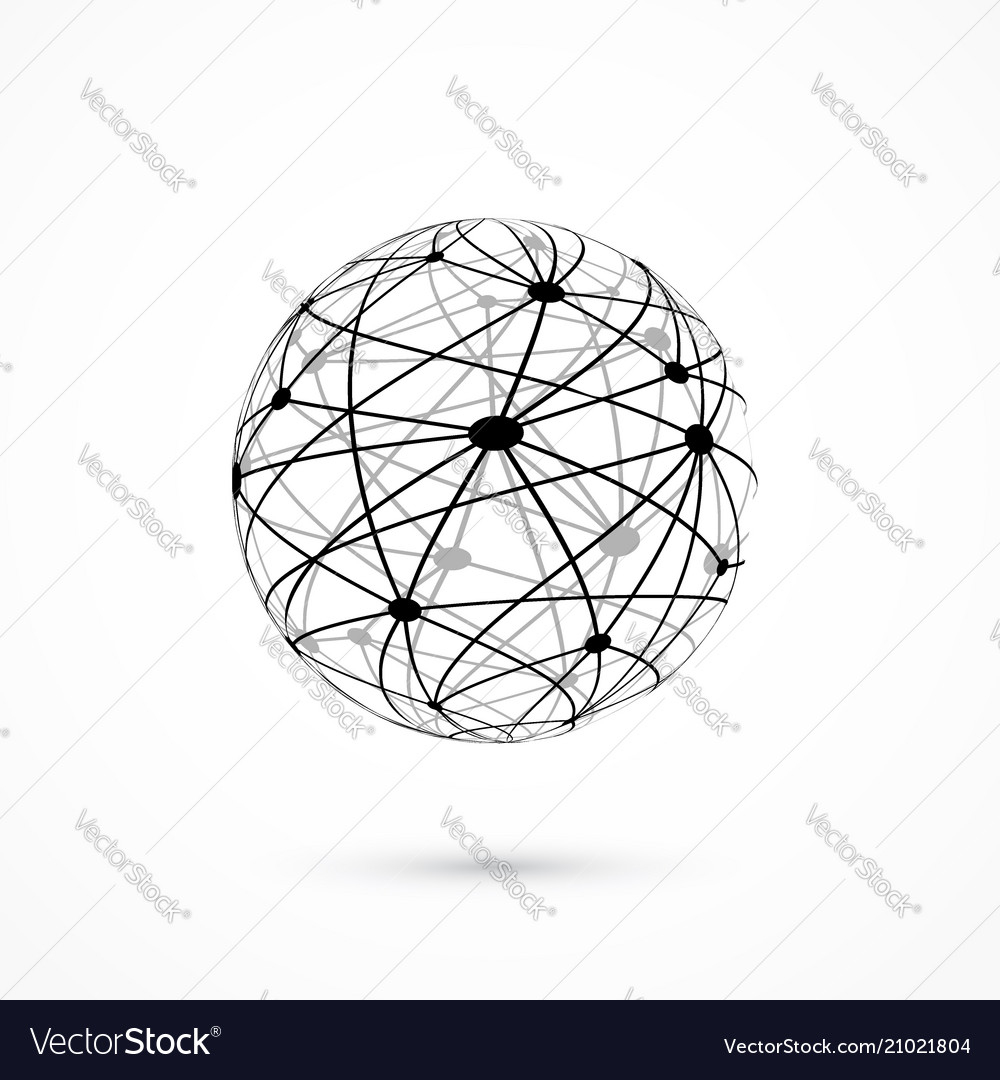 Modern abstract connection concept wireframe