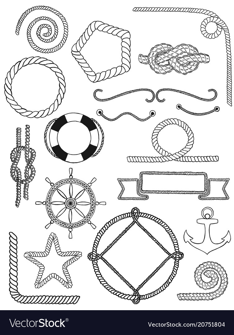 Nautical pack icon set vector image