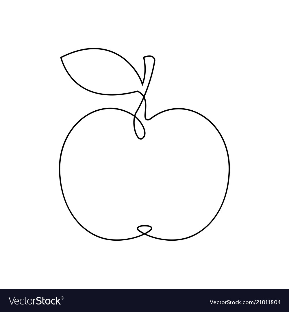 One line apple design hand drawn minimalism style