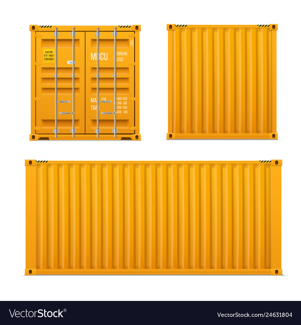 Realistic bright yellow cargo container set t