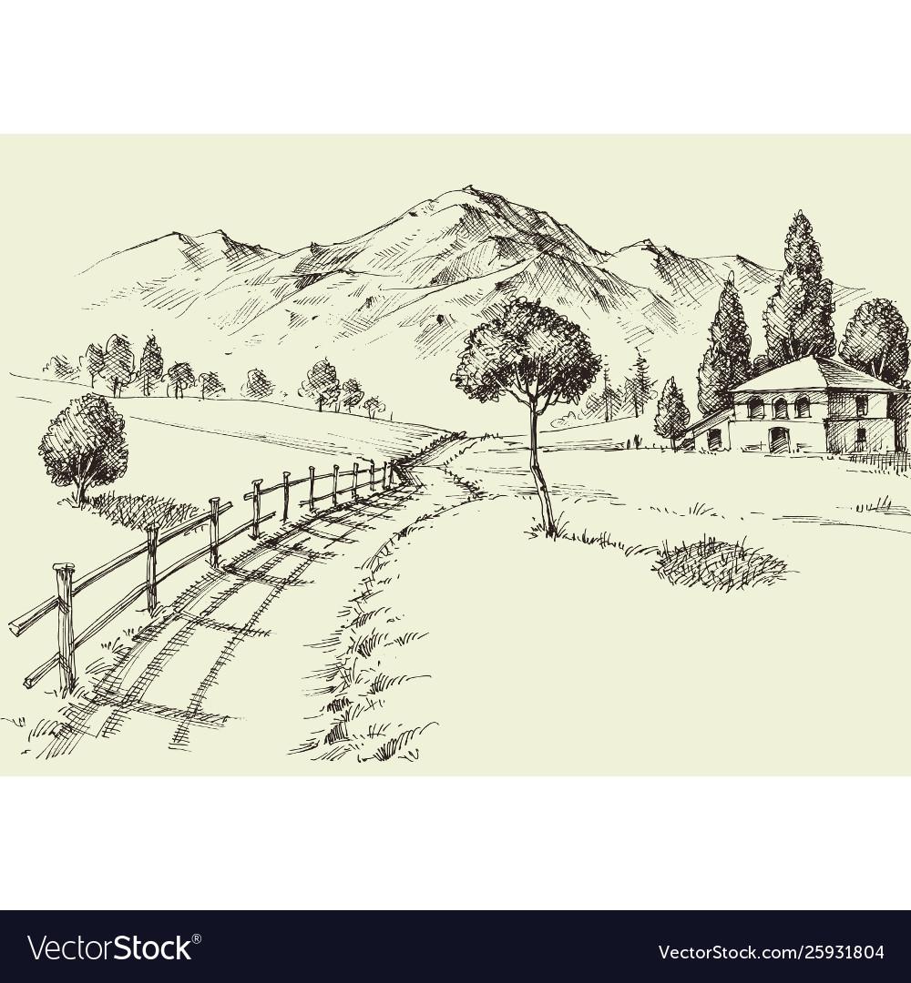 Road to a alpine farmhouse mountains landscape