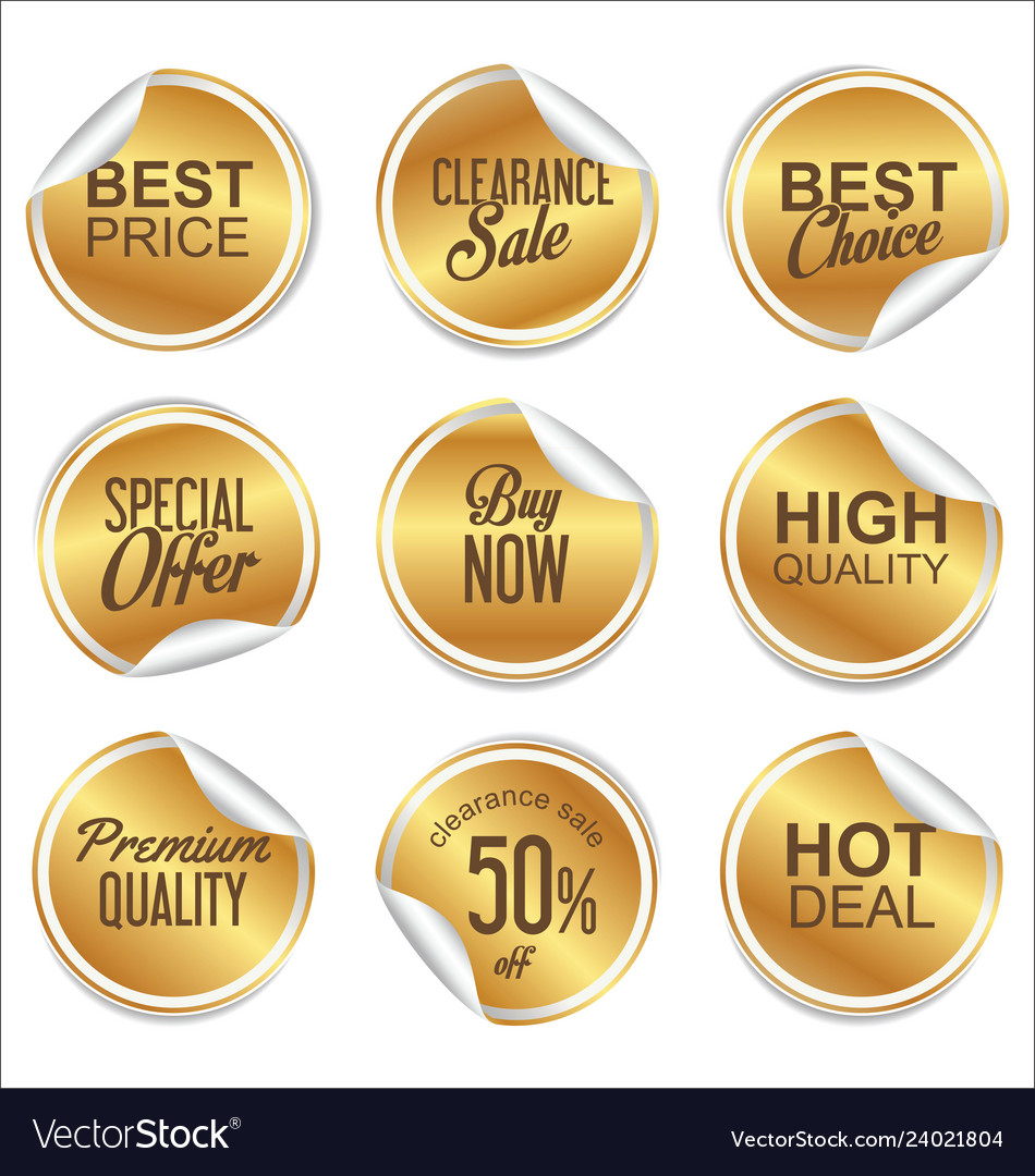 Round white and gold paper sale sticker