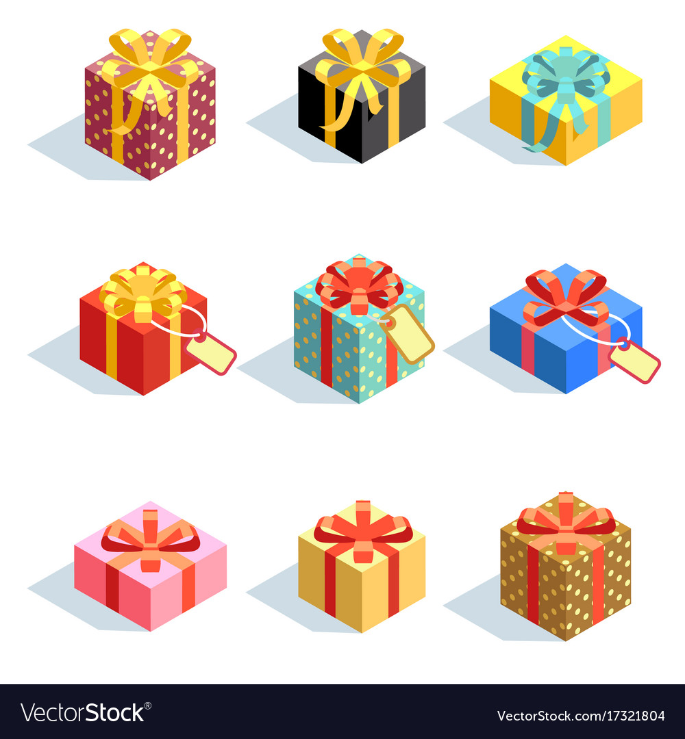 Set of different colored 3d giftboxes with ribbons