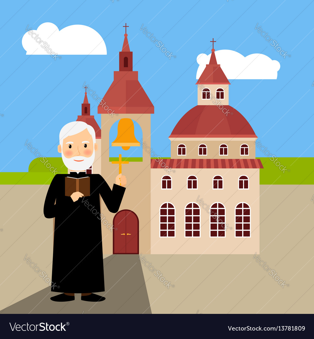 Colored church building and pastor