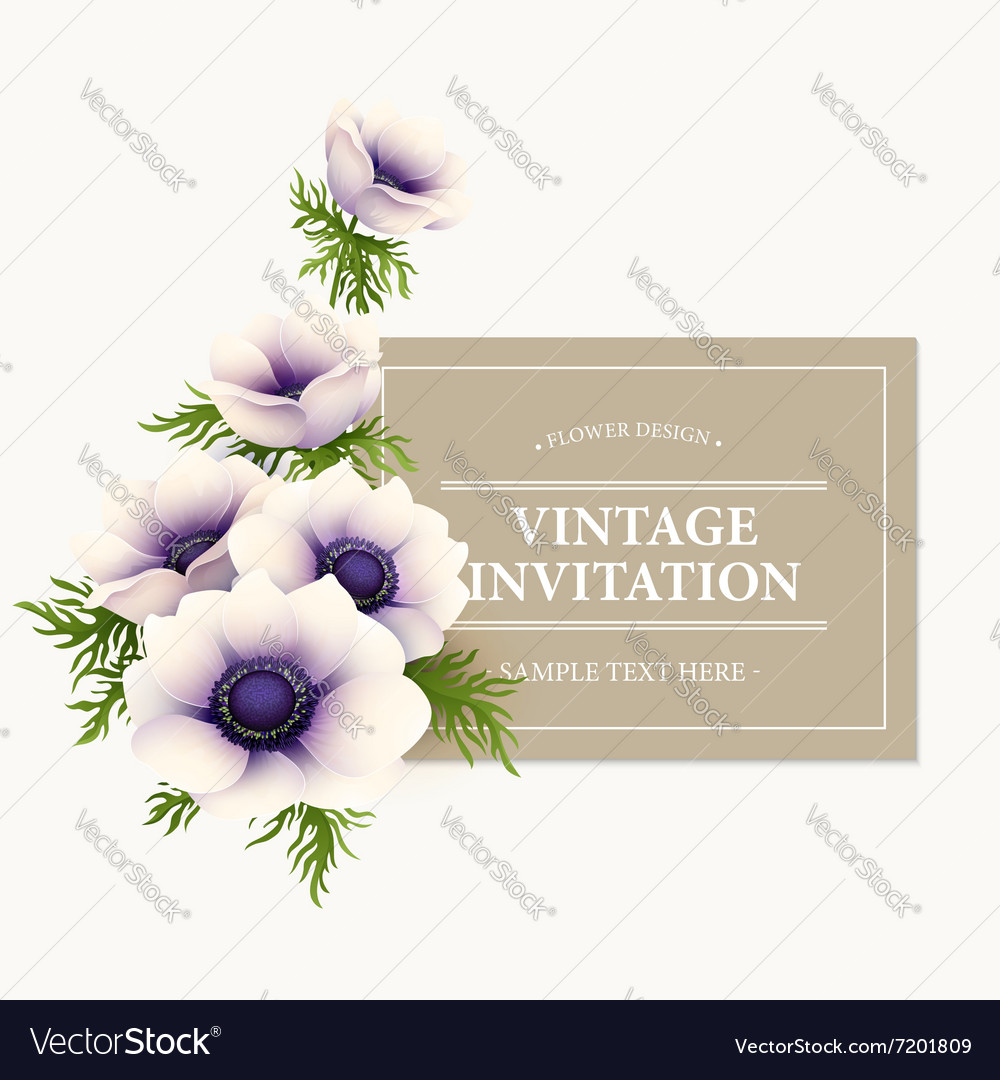 Greeting card with anemone flower