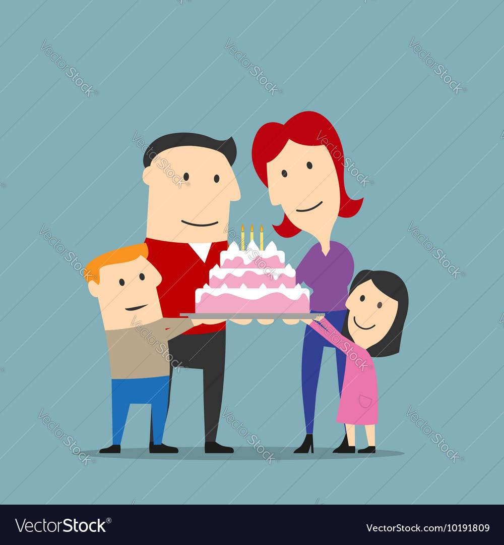Happy family celebrating with big cake
