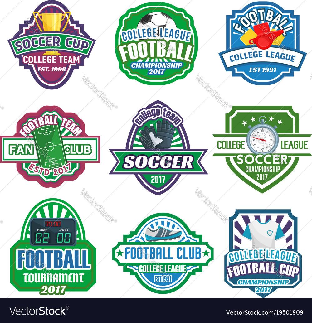 Icons for soccer club football league team vector image