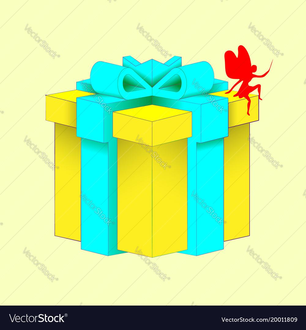Realistic volumetric yellow gift box with ribbon vector image