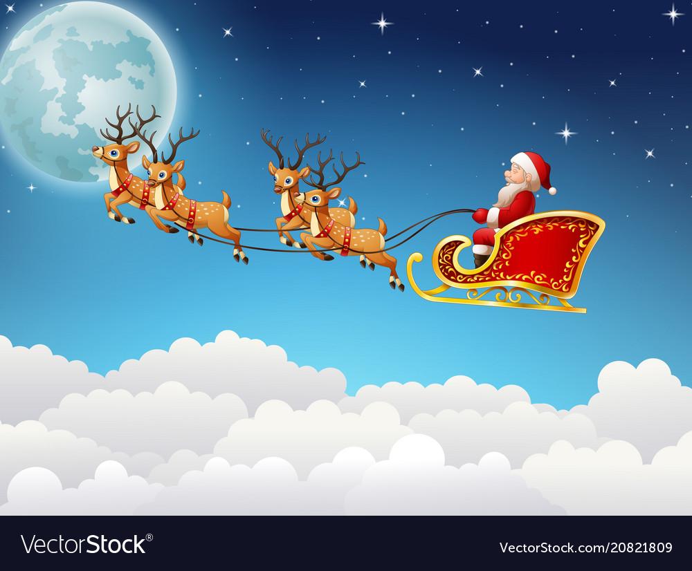 Santa claus rides reindeer sleigh flying in sky Vector Image