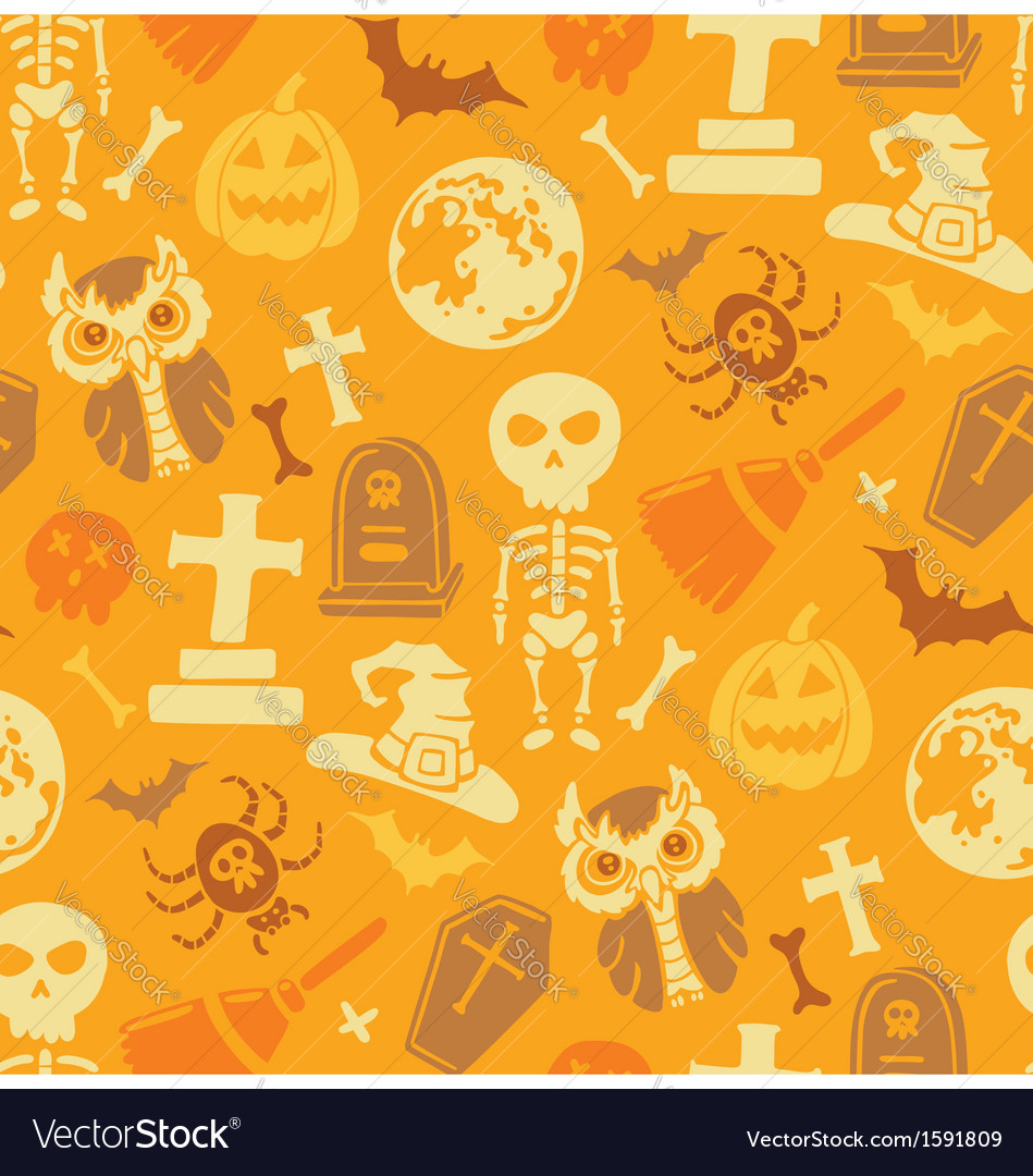 Seamless pattern with halloween objects