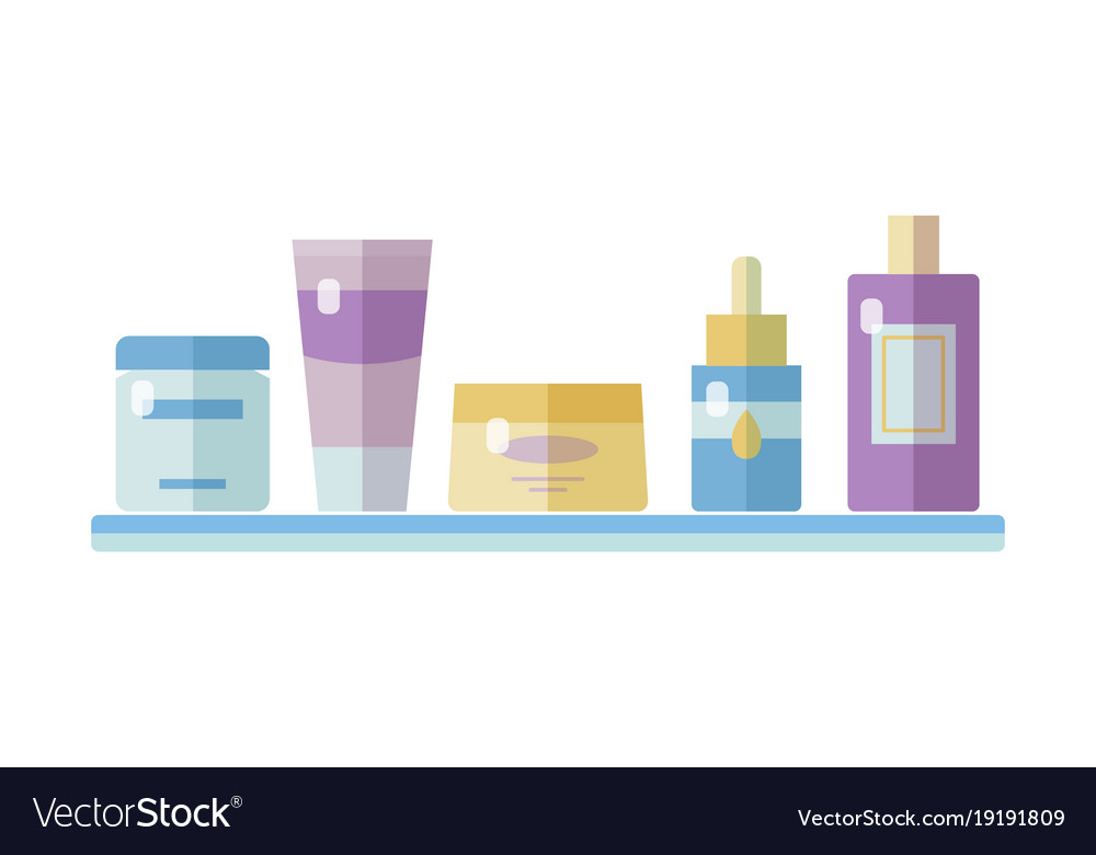 Set of tubes and vials cosmetics vector image