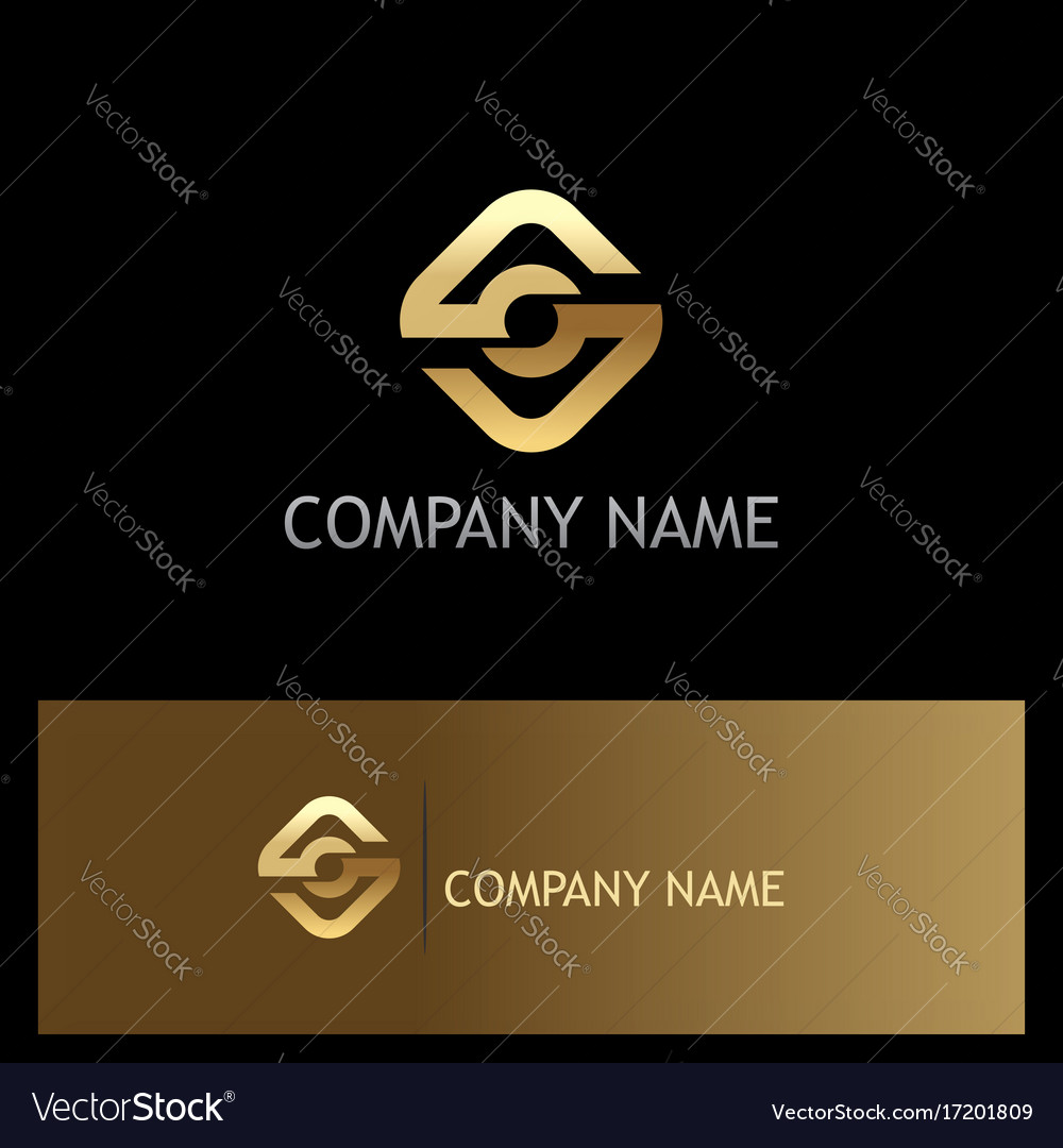 Square round connection gold logo