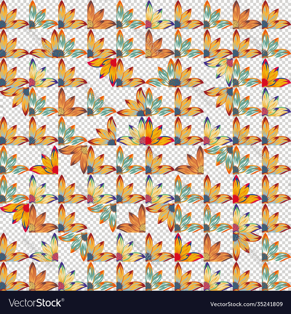 Vivid floral patchwork seamless pattern