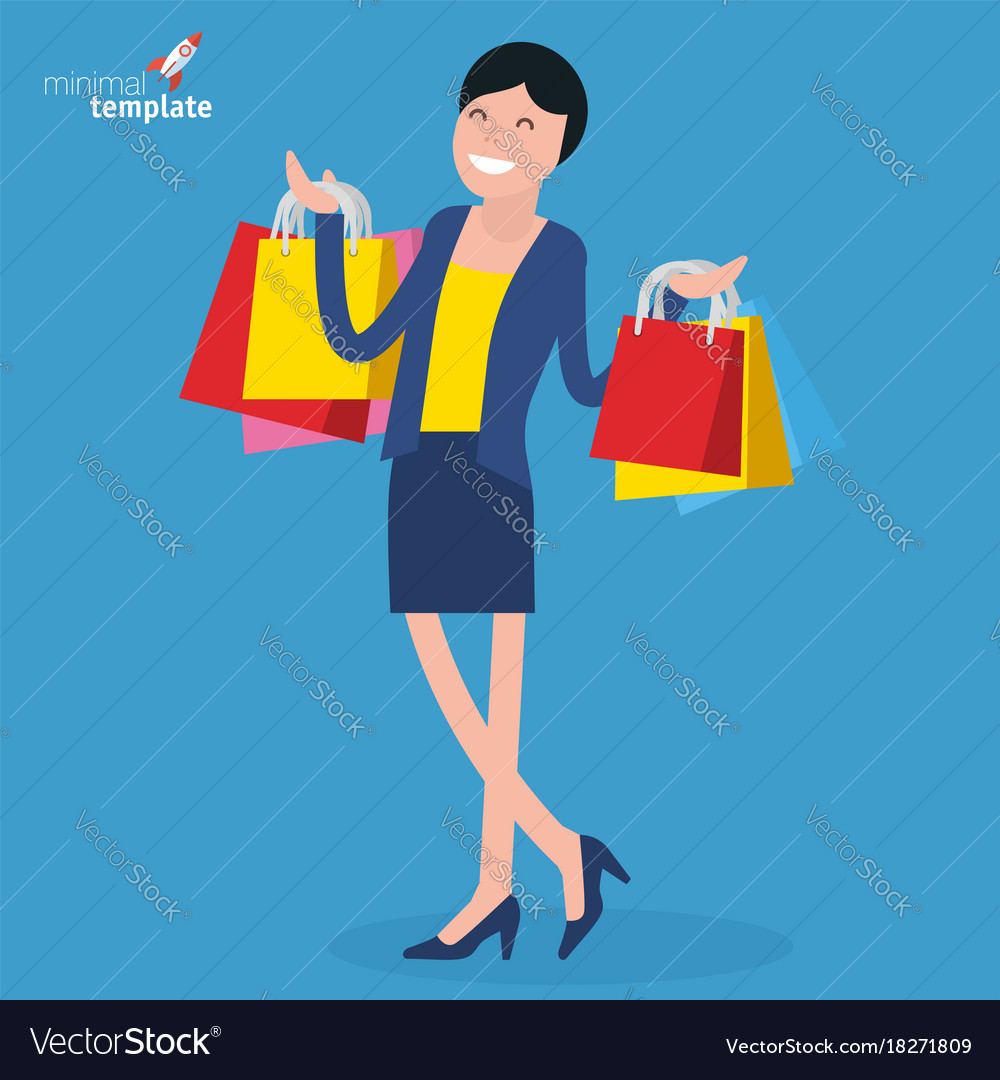 Young woman standing with shopping bvags vector image