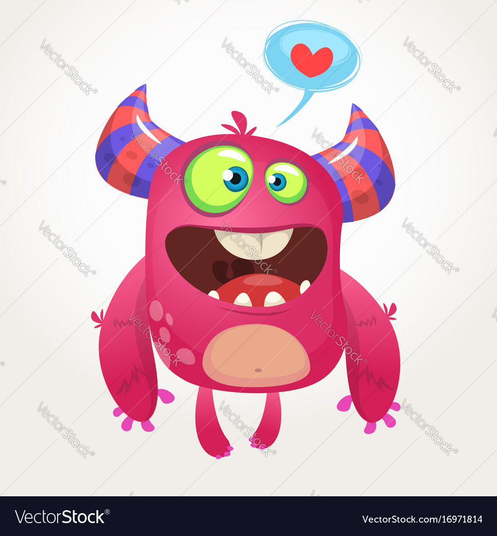 Cartoon pink cool monster in love