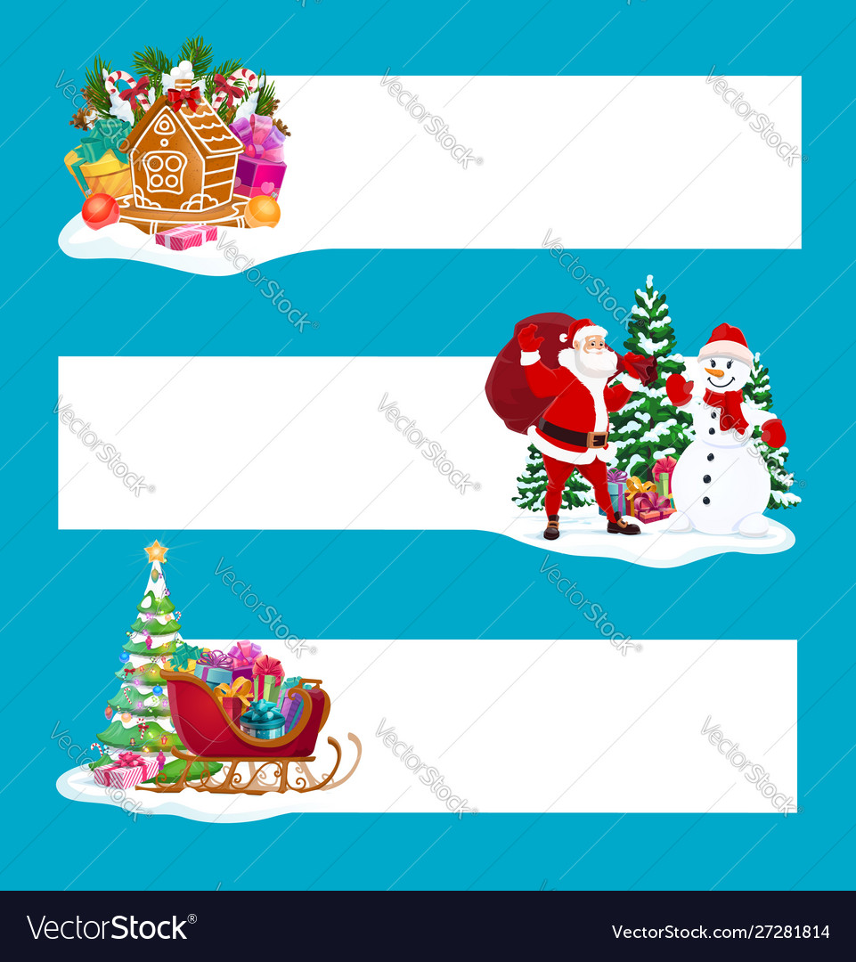 Christmas gifts santa and snowman banners
