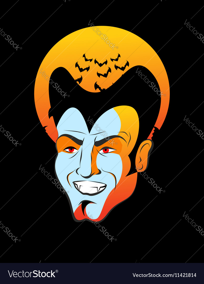 Count Dracula and moon Vampire bats head of vector image