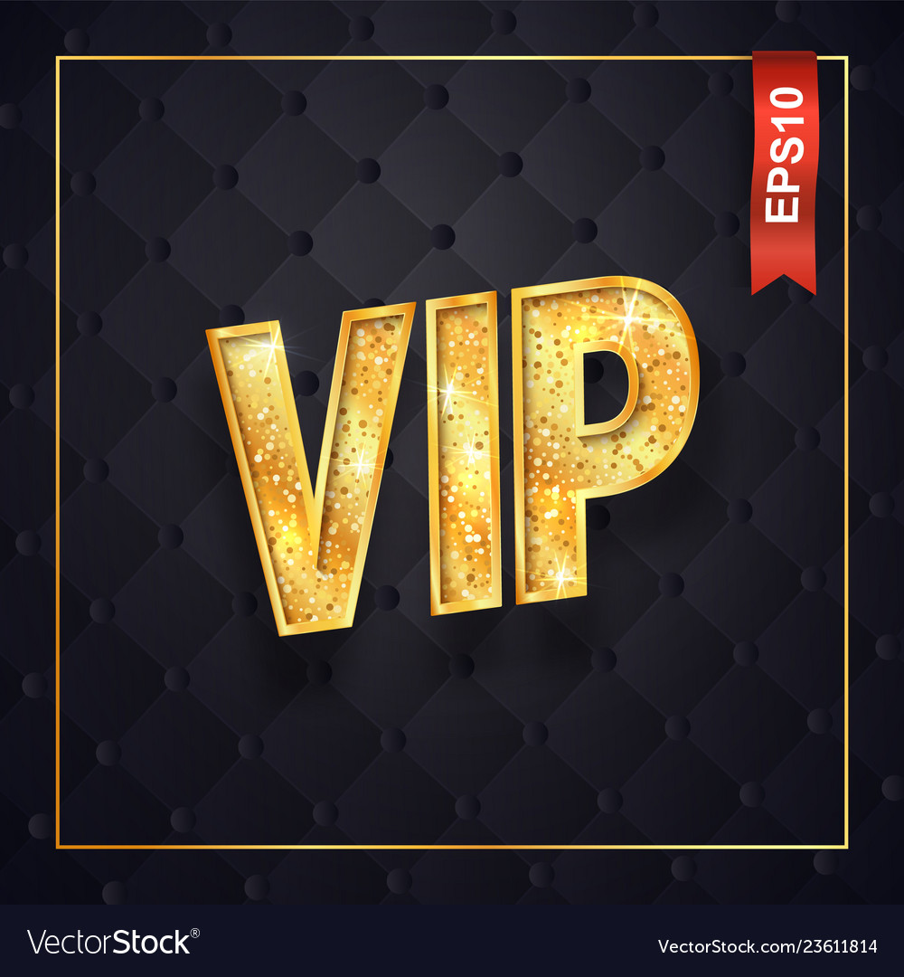 Gold vip text isolated logo on dark quilted