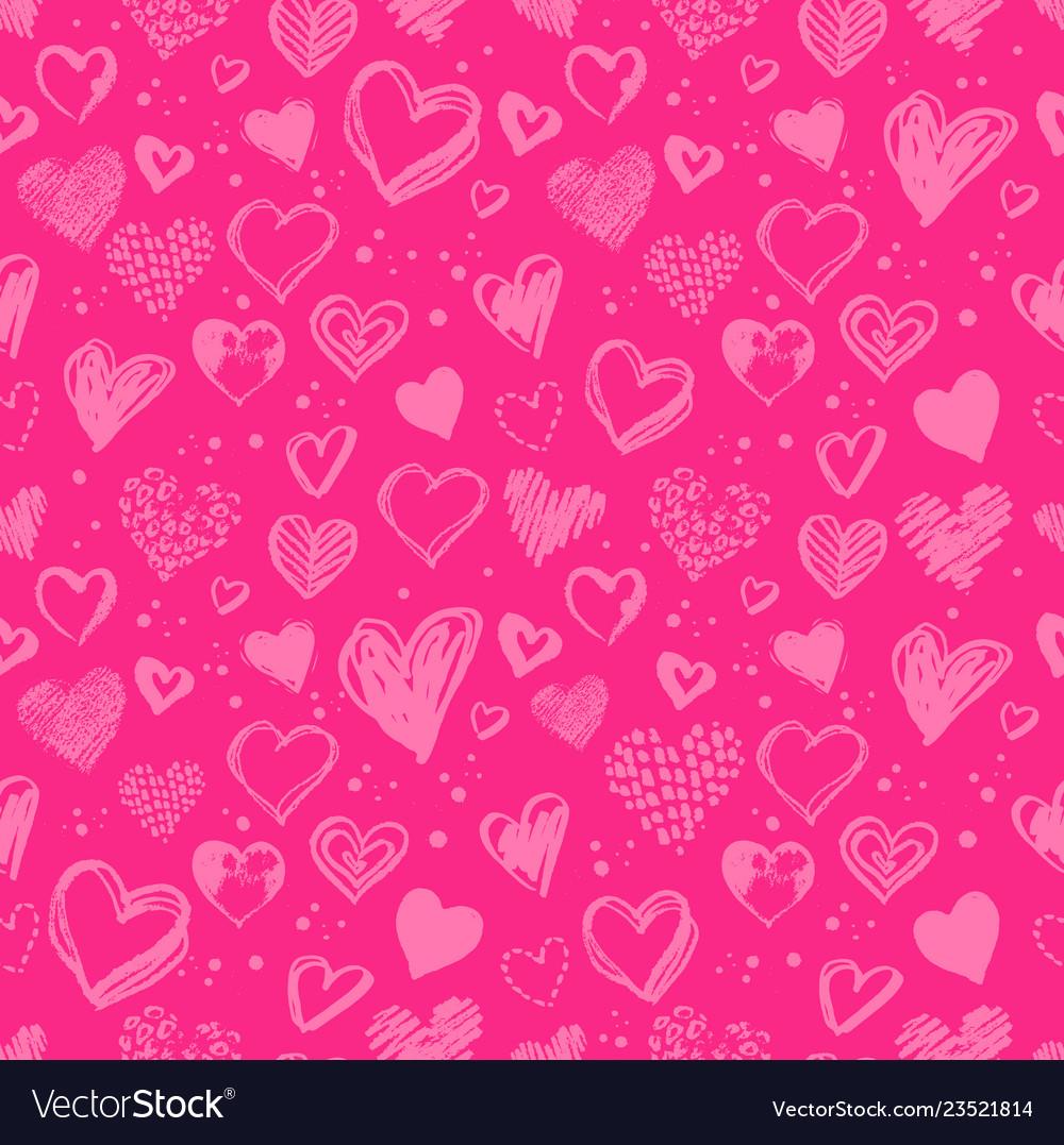 Hand drawn valentine grunge hearts pattern