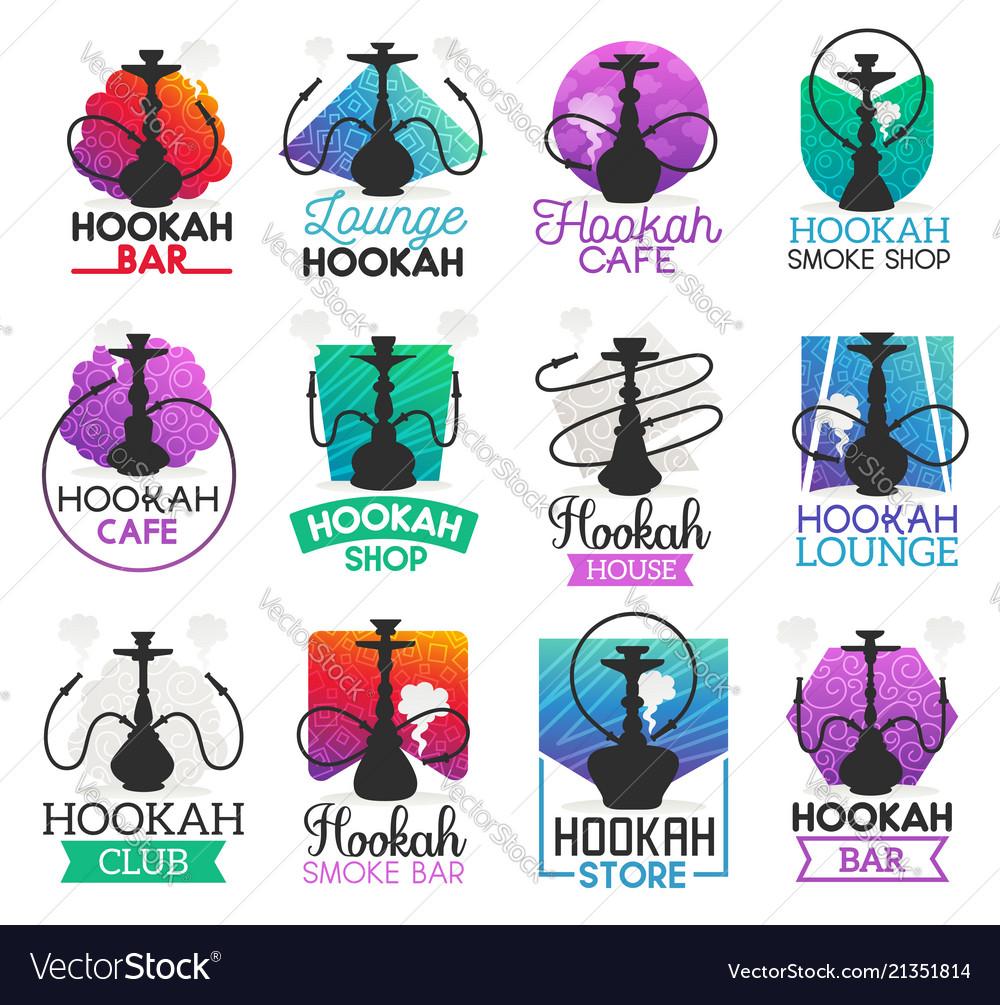 Hookah lounge bar or smoke shop icons