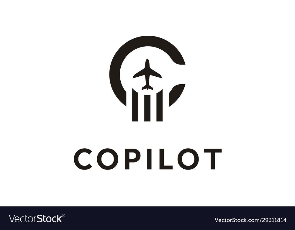 Initial letter c copilot plane aircraft logo