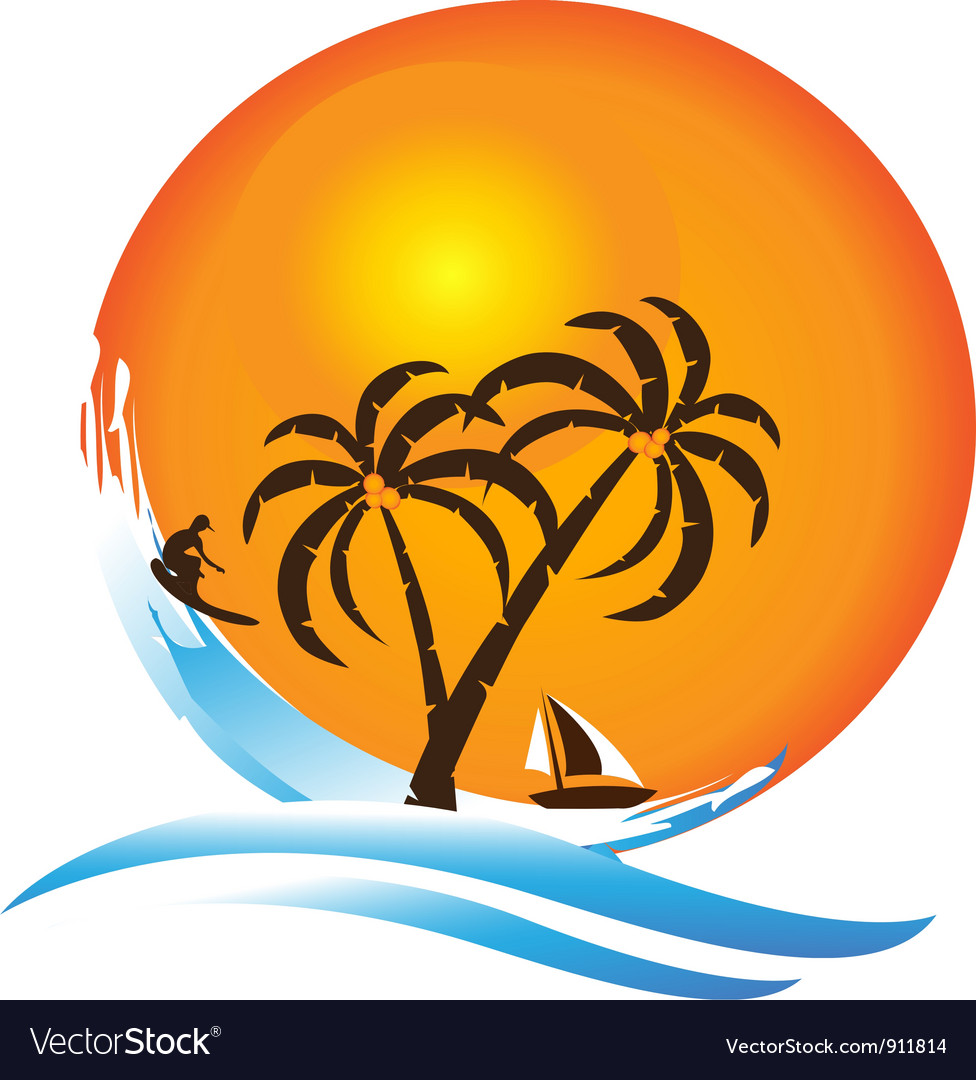 Tropical island paradise logo