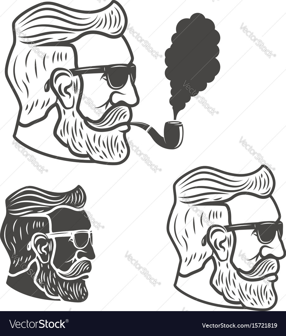 Bearded man head with smoking pipe isolated on vector image