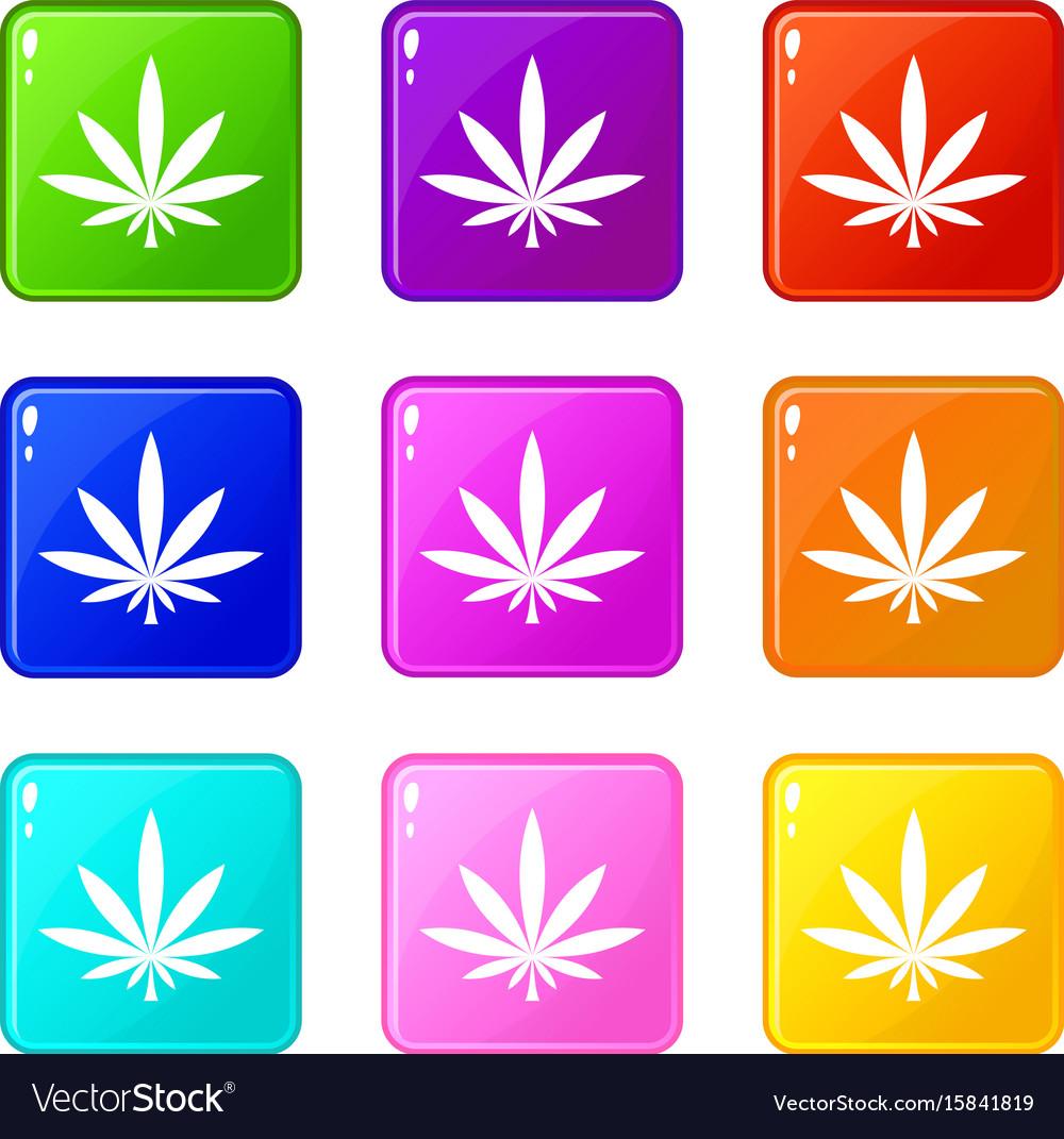 Cannabis leaf icons 9 set