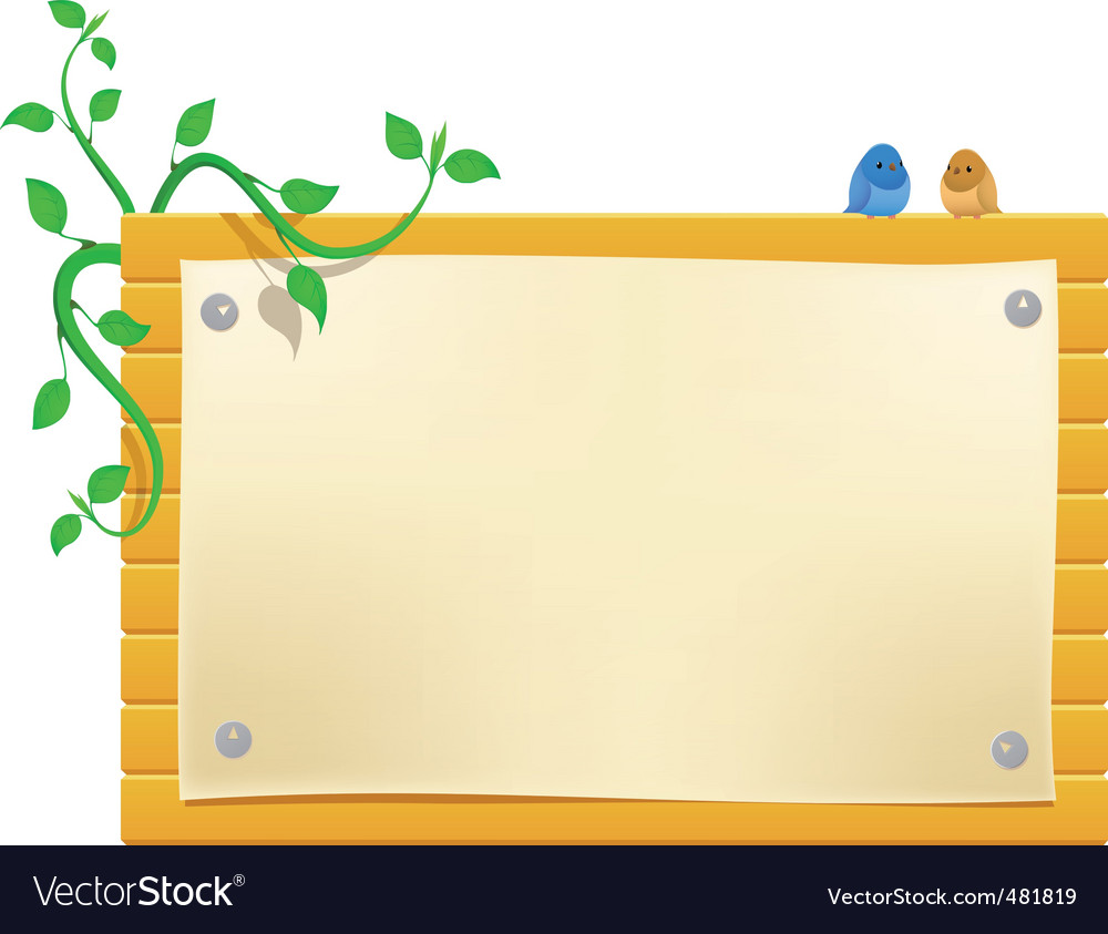 Cartoon billboard with little birds vector image
