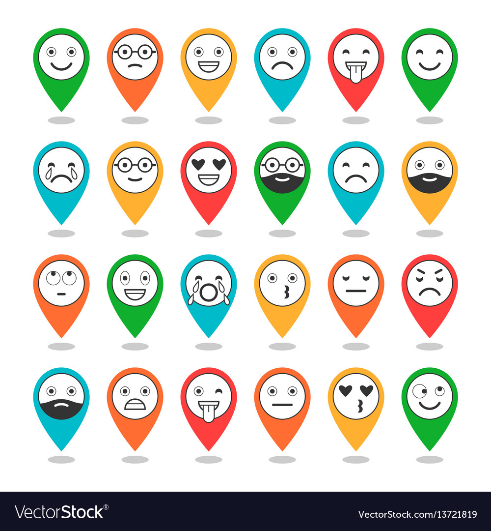 Colored flat icons of emoticons on pins smile